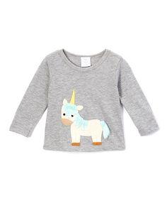Look at this #zulilyfind! Silver Unicorn Appliqué Long-Sleeve Tee - Infant & Kids #zulilyfinds