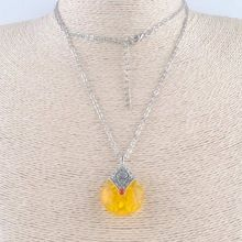 Resin Wax Necklace Pendants Imitation Honey Water Drop Nepal india Amulet Tibetan silver Pendant Necklaces TLMLXL(China (Mainland))