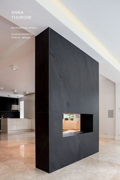 modern black slate fireplaces ideas nowoczesny kominek z łupka designed by: annathurow.pl Fence Screening, Living Spaces, Living Room, Home Technology, House Entrance, Master Bedroom, Contemporary, Fireplaces, Foyer