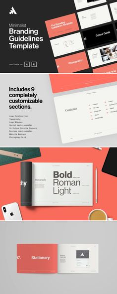 DETAILS The Minimalist Brand Guidelines Template The brand guidelines template features a minimalist style design, bold typography in a 12 column grid layout. Brand Guidelines Design, Logo Guidelines, Brand Guidelines Template, Keynote Design, Branding Design, Logo Design, Identity Branding, Graphic Design, Branding Ideas