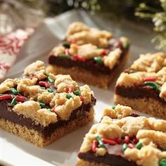 Fudge-Filled Holiday Peanut Butter Bars
