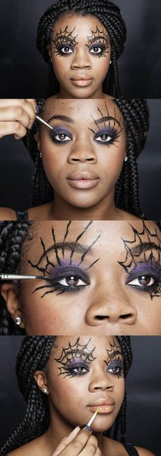In this step-by-step makeup tutorial for a simple but very effective Halloween look, MAC senior artist Debbie Finnegan and . In this step-by-step makeup tutorial for a simple but very effective Halloween look, MAC senior artist Debbie Finnegan and . Disfarces Halloween, Halloween Perfume, Halloween Makeup Looks, Witch Makeup Easy, Purple Witch Makeup, Halloween Spider Makeup, Simple Halloween Costumes, Spider Web Makeup, Spider Costume