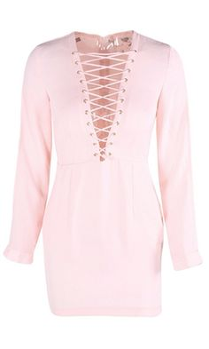 Working Wonders Light Pink Long Sleeve Plunge V Neck Lace Up Tie Bodycon  Mini Dress - Sold Out d8489b2ff