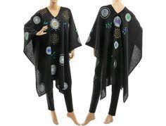 Boho black linen poncho cape hand painted black von classydress