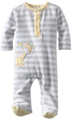 Amazon.com: ABSORBA Unisex-Baby Newborn Neutral Velour Footie, Grey Stripe, 3-6 Months: Clothing