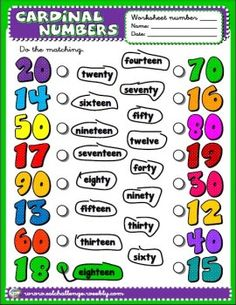 RESOURCES AVAILABLE HERE  http://eslchallenge.weebly.com/packs.html NUMBERS - WORKSHEET