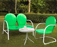Crosley Furniture KO10003GR Griffith 3 Piece Metal Outdoor Conversation Seating Set - Loveseat & Chair in Grasshopper Green Finish with Side Table in White Finish