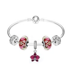 Pandora orchid flower garden bracelet