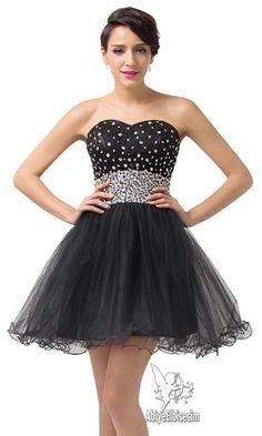 kısa abiye elbise siyah strapless taş ve pul dekorasyonlu,abiye elbise,kısa abiyeler,uzun abiye,online abiye