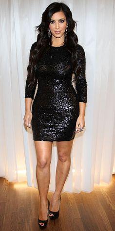 Kim Kardashian in black sequin Alice + Olivia dress