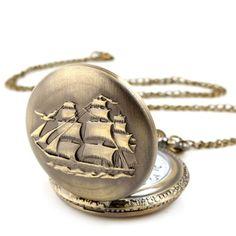 Yesurprise Unisex Antique Case Vintage Brass Rib Chain Quartz Pocket Watch Ship