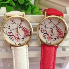 Plum Blossom Flower Pattern Leather Band Watch