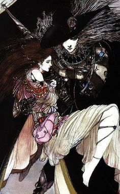 Vampire Hunter D - Art by Yoshitaka Amano Vampire Hunter D, Fantasy Kunst, Fantasy Art, Yoshitaka Amano, Drawn Art, Animation, Arte Popular, Gothic Art, Japanese Artists