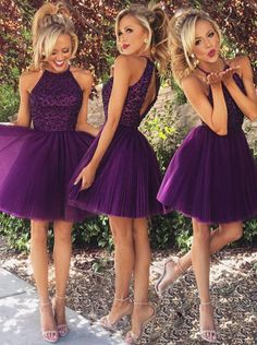 Sexy A-line Scoop Beaded Tulle Sleeveless Purple Backless Short Cocktail Homecoming Dress
