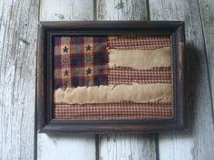 Primitive Framed Americana Flag by ColdCreekPrimitives on Etsy, $9.95
