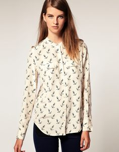 Equipment all over anchor print blouse