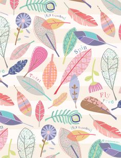 Ideas For Fashion Wallpaper Design Wall Papers Surface Pattern Design, Pattern Art, Feather Pattern, Cute Wallpapers, Wallpaper Backgrounds, Leaves Wallpaper, Animal Wallpaper, Flower Wallpaper, Desktop Wallpapers