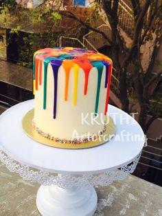 Rainbow drip cake - cake by Lavanya Kotha 6th Birthday Cakes, Novelty Birthday Cakes, Birthday Ideas, White Chocolate Ganache, Melting Chocolate, Chocolate Cake, Candy Melts, Art Party Cakes, Drip Cake Tutorial
