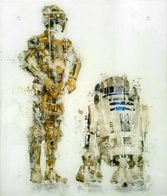 """[C3PO/R2D2 vs Water/Akira Fujimoto] Akira Fujimoto uses water to dissolve the print of C3PO and R2D2, the symbols of movie characters. This is the way of contemporary art expression that substitute a color and drawing, which are basic two elements of painting, for a symbol and chemical reaction. One of the """"RECODE 01: Icon"""" series that is an attempt to symbolize an iconic object into something new."""