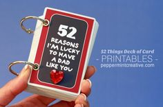 Father's Day Gift Idea - 52 Reasons I'm Lucky to Have a Dad Like You Album. Created from old deck of playing cards and printables from peppermintcreative.com