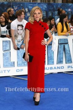 Clara Paget Red Velvet Slit Form-fit Evening Dress European Premiere Valerian and the City of a Thousand Planets - TheCelebrityDresses