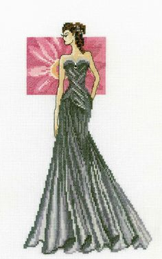 Miss Elegance - cross stitch kit by RTO - A stylised picture of a lady in a black evening gown. Cross Stitch Kits, Counted Cross Stitch Patterns, Cross Stitch Designs, Cross Stitch Embroidery, Learn Embroidery, Embroidery Patterns, Stitches Wow, Stitch And Angel, Cross Stitch Collection