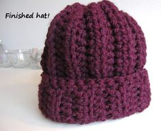 Ribbed Hat tutorial - Size L (8.0mm) crochet hook,106 yards super bulky yarn – I used Lion Brand Wool-Ease Thick & Quick  super fast to work up, free pattern from jjcrochet.com