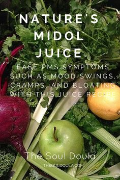 his juice recipe has helped me with PMS symptoms such as mood swings, cramps, bloating, and the overall yucky feeling we often get during our cycle by providing me with the nutrients needed to prevent typical period symptoms.