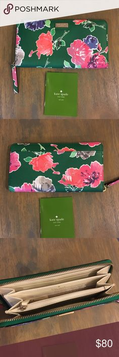 NWOT Kate Spade Brightwater Zip Around Wallet NWOT Kate Spade Brightwater Zip Around Wallet - Green Floral. Perfect for spring! Never used. kate spade Bags Wallets