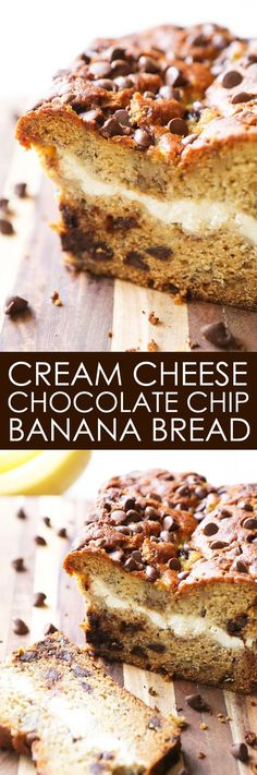 Cream Cheese Chocolate Chip Banana Bread - Banana bread transformed into an irresistible dessert! This stuff is like crack. Banana Bread Cream Cheese, Chocolate Cream Cheese, Chocolate Chip Banana Bread, Banana Cream, Chocolate Butter, Chocolate Muffins, Chocolate Chips, Just Desserts, Delicious Desserts