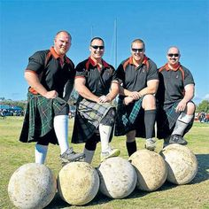 Tartan Warriors- Stones  Clach Cuid Fir (Gaelic for Manhood Stone) is a traditional test of pure strength. The athletes compete against the clock to determine who can lift five stones of increasing weights off the ground and onto barrels. With the stones weighing between 100 and 165kg this is not an event for the average person, but it is great to watch.