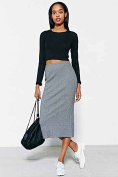 Silence + Noise Ribbed Liza Midi Skirt - Urban Outfitters
