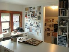 love the inspiration wall, sewing table by the window and generous work space island.