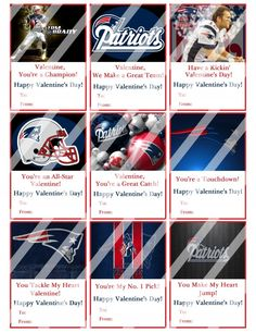 New England Patriots Valentines Day Cards Sheet #5 (instant download or printed)