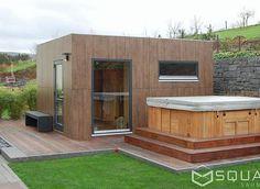 The sauna house SQUARE XXL with flexible room layout - your private wellness oa . Outdoor Sauna, Jacuzzi Outdoor, Outdoor Decor, Sauna House, Sauna Room, Garden Living, Backyard, Patio, Fresco