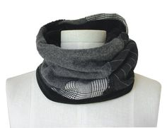 Mens Neck Warmer Repurposed Patchwork Cowl Scarf by cync00 on Etsy, $52.00