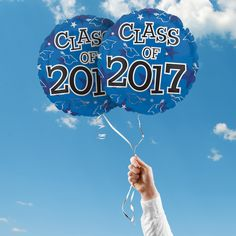 """Includes 2 Blue 17"""" round Class of 2017 graduation foil balloons. """"Class of 2017"""" is printed on both sides of the balloons. Use balloons for your graduation party centerpieces or balloon bouquets."""