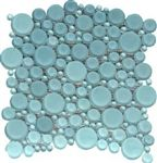 CTM - Round Bubbles Glass Tile Mosaic - GL-300 Bahia Blue Bubble - Glossy