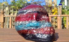 Red, Blue & Black Orgonite Skull from Orgonotica.co.uk. Hand made in Scotland