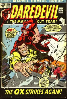 """You clumsy Ox! He and his twin brother alternated working for the Enforcers in """"Spider-Man."""" This one appeared here and was radiated in a process that transferred the mad scientist's mind into the Ox's body - he died. The brother menaced Spidey with the old gang in later stories."""