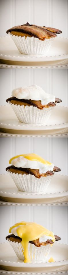 Cupcakes Benedict - Maple Cupcakes Topped with Black Forest Bacon, Poached Eggs, and Maple Hollandaise Sauce (from Cupcake Project - cupcakeproject.com)
