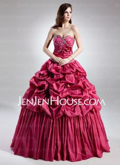 Quinceanera Dresses - $198.69 - Ball-Gown Sweetheart Floor-Length Taffeta Quinceanera Dress With Ruffle Beading (021015702) http://jenjenhouse.com/Ball-Gown-Sweetheart-Floor-Length-Taffeta-Quinceanera-Dress-With-Ruffle-Beading-021015702-g15702