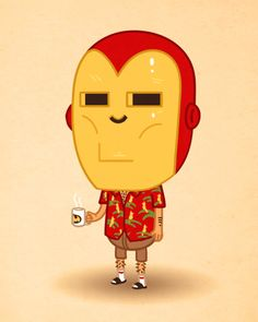 Cute illustration - Ironman on holiday