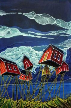 """Adam Young """"Yellow and Reds"""" Painted Houses, Painted Rocks, Artist Painting, House Painting, Simple Paintings, Adam Young, Young Art, Boy Toys, Polar Bears"""