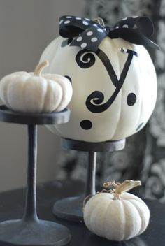 Monogram White Pumpkins