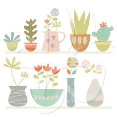 Pot Plants and Succulents Clip Art Set
