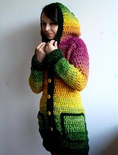 lovely crocheted sweater. i love it! i want one just like it - but in all white!