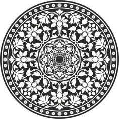 Illustration of Indian traditional pattern of black and white - flower mandala vector art, clipart and stock vectors. Indian Patterns, White Patterns, Pattern Art, Pattern Design, Mandala Pattern, Black Pattern, Circular Pattern, Tattoo Muster, Mandala Coloring