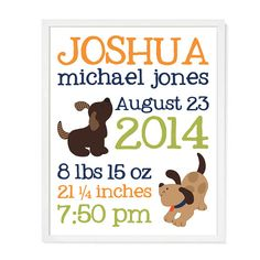Bow Wow Puppy Dog Baby Announcement 8 x 10 Wall Art by PerchedOwl
