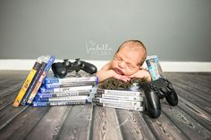 Gamer newborn photo